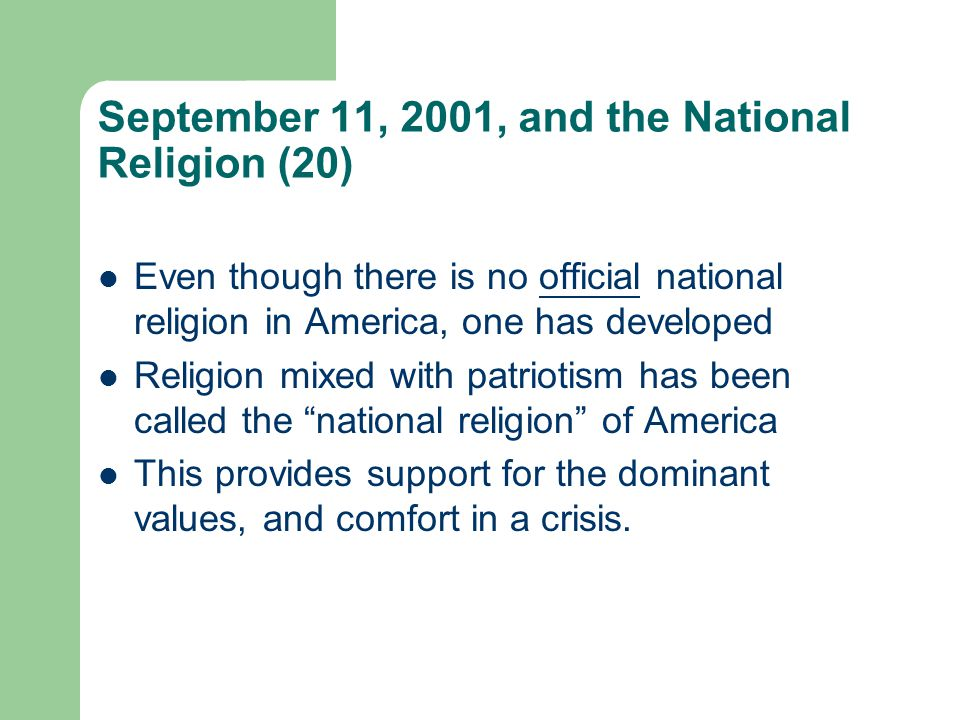 September 11, 2001, and the National Religion (20)