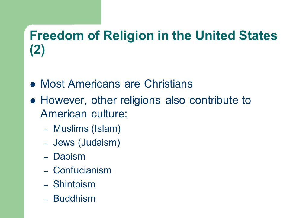 Freedom of Religion in the United States (2)