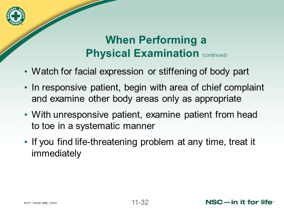 When Performing a Physical Examination (continued)