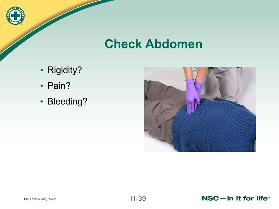 Check Abdomen Rigidity Pain Bleeding