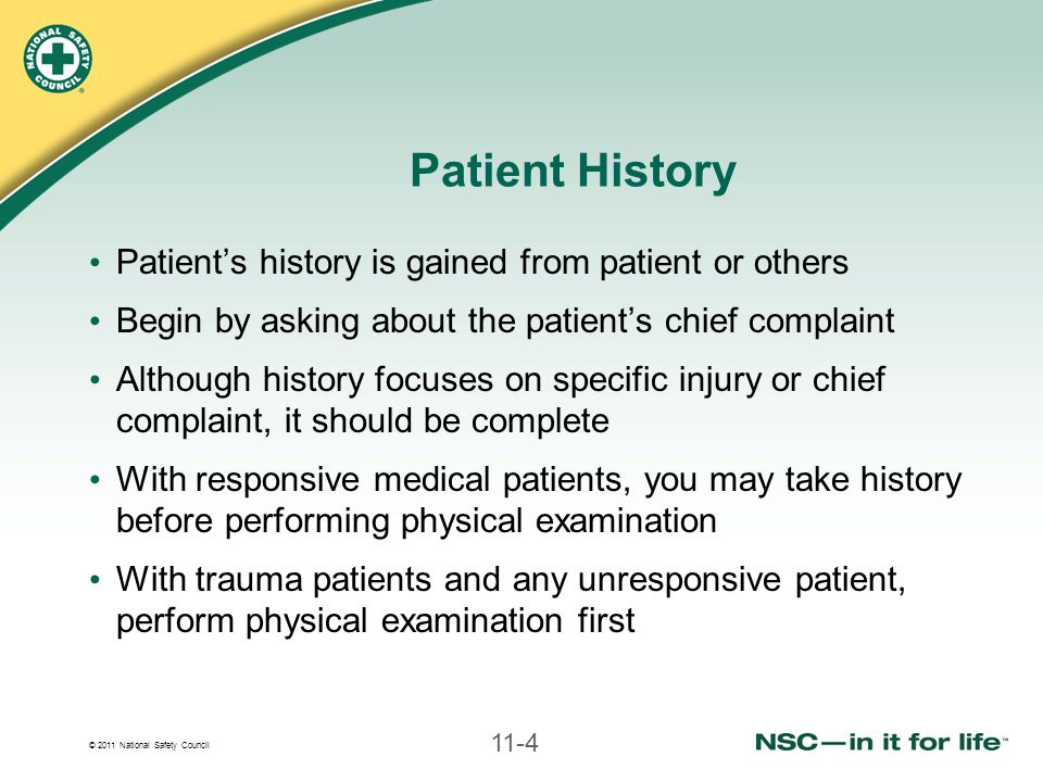 Patient History Patient's history is gained from patient or others