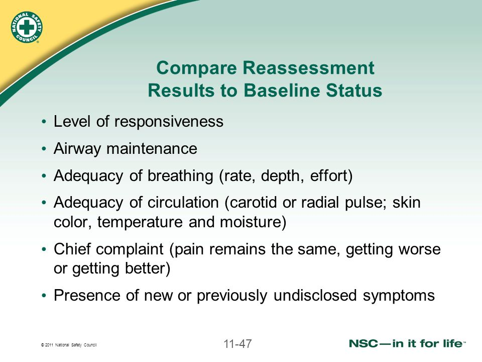 Compare Reassessment Results to Baseline Status
