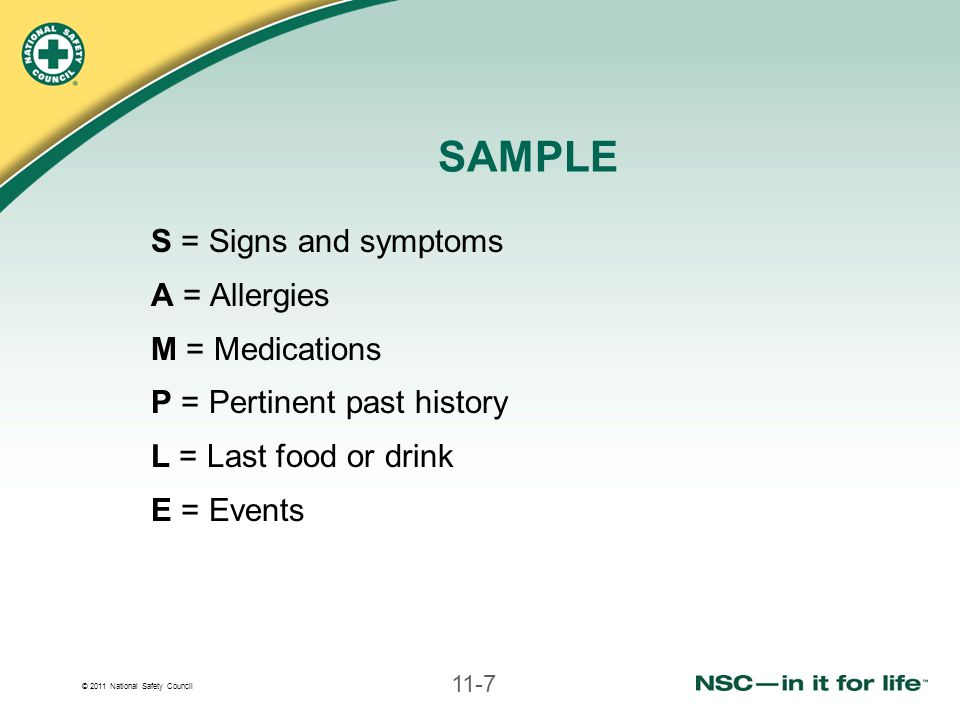 SAMPLE S = Signs and symptoms A = Allergies M = Medications
