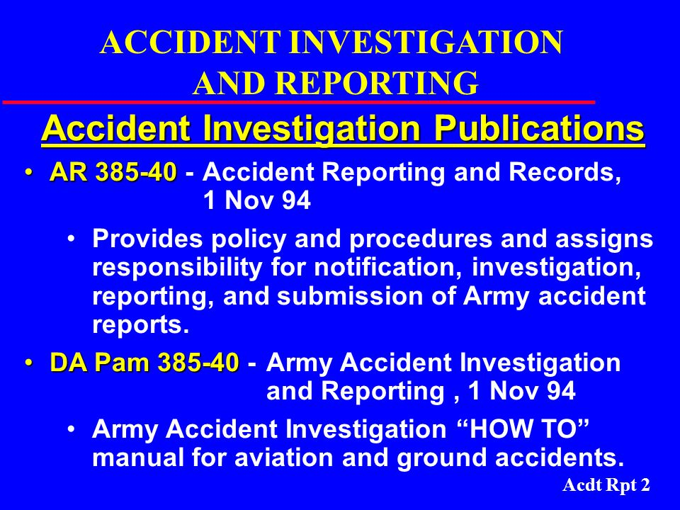 Accident Investigation Publications