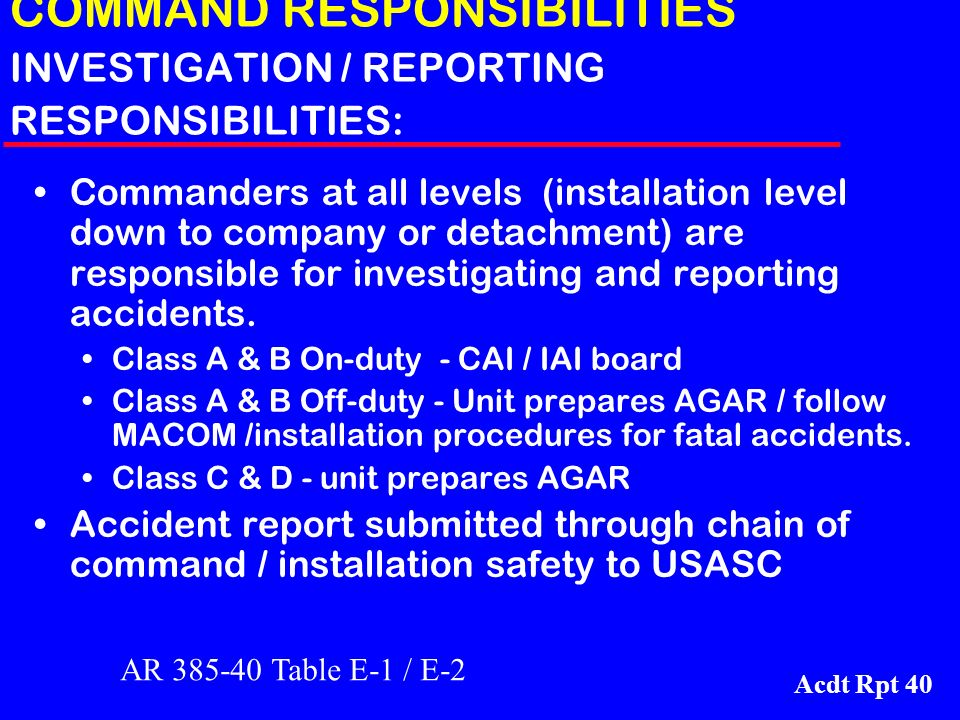 COMMAND RESPONSIBILITIES INVESTIGATION / REPORTING RESPONSIBILITIES: