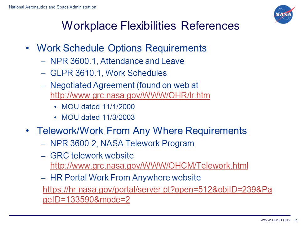 Workplace Flexibilities References