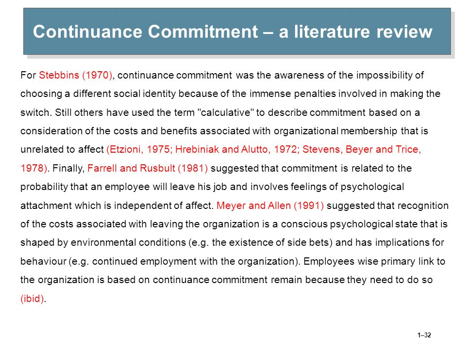 Continuance Commitment – a literature review