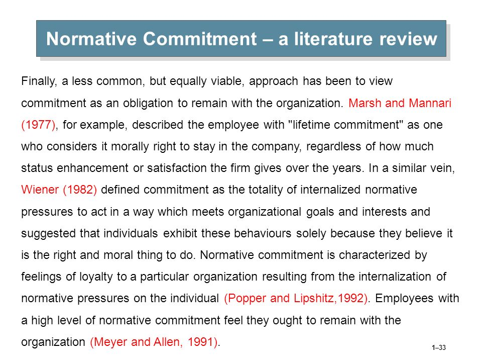 Normative Commitment – a literature review