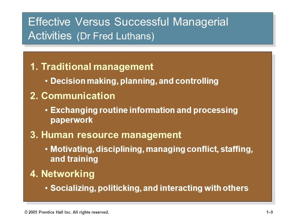 Effective Versus Successful Managerial Activities (Dr Fred Luthans)