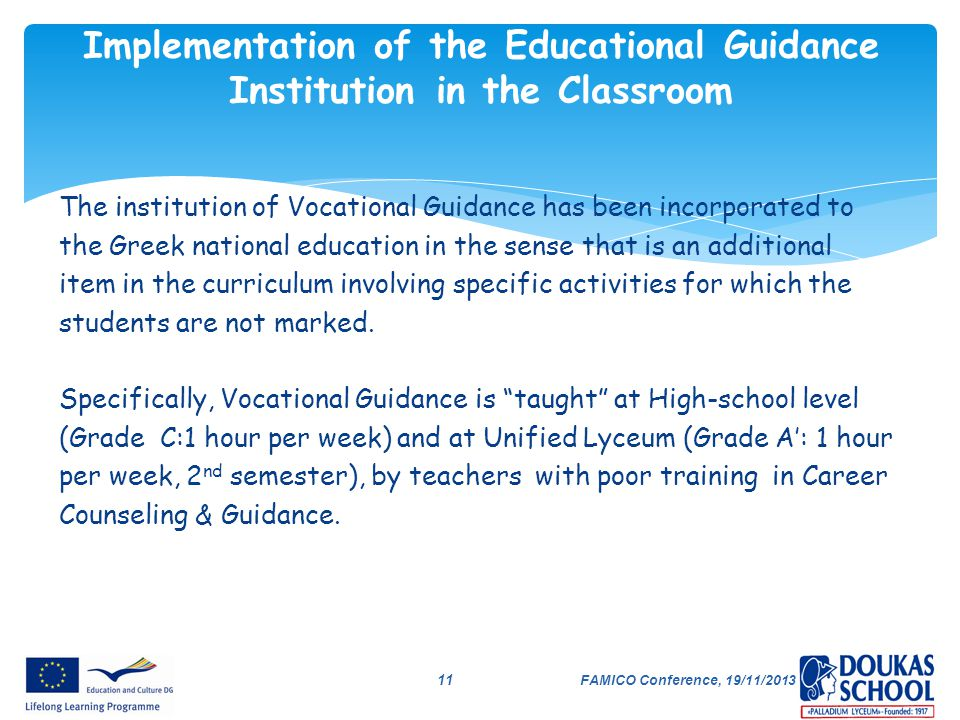 Implementation of the Educational Guidance Institution in the Classroom