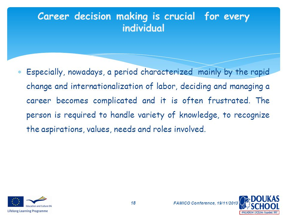 Career decision making is crucial for every individual