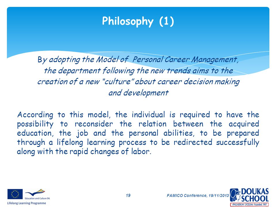 Philosophy (1) By adopting the Model of Personal Career Management,