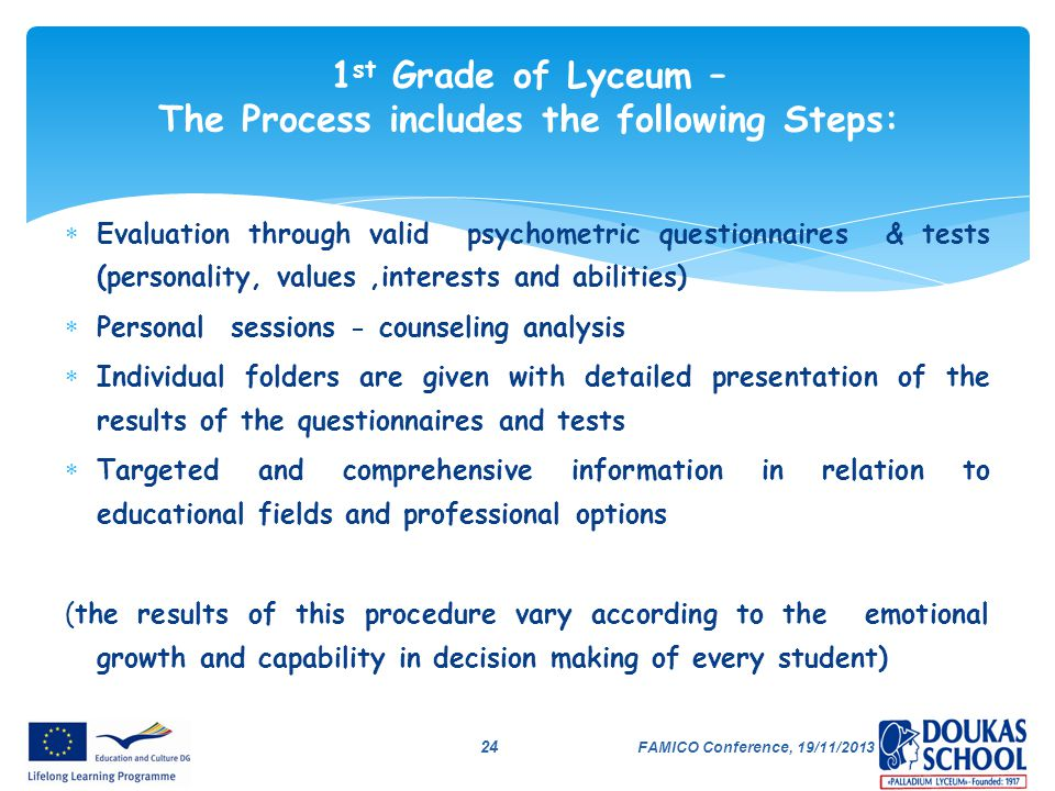 1st Grade of Lyceum – The Process includes the following Steps: