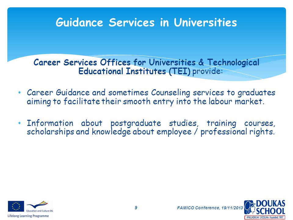 Guidance Services in Universities