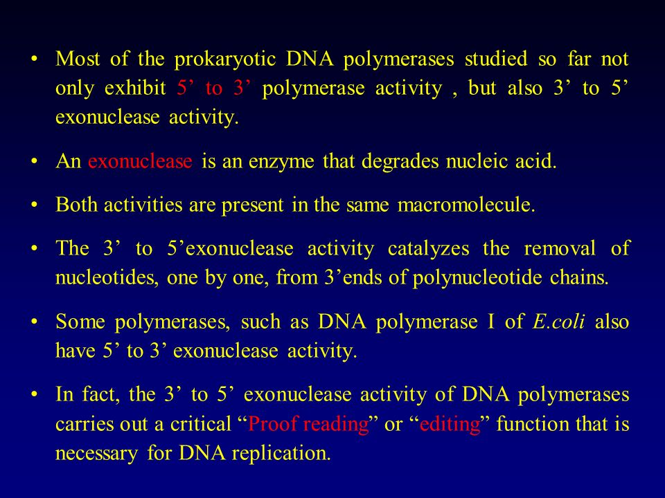 Most of the prokaryotic DNA polymerases studied so far not only exhibit 5' to 3' polymerase activity , but also 3' to 5' exonuclease activity.