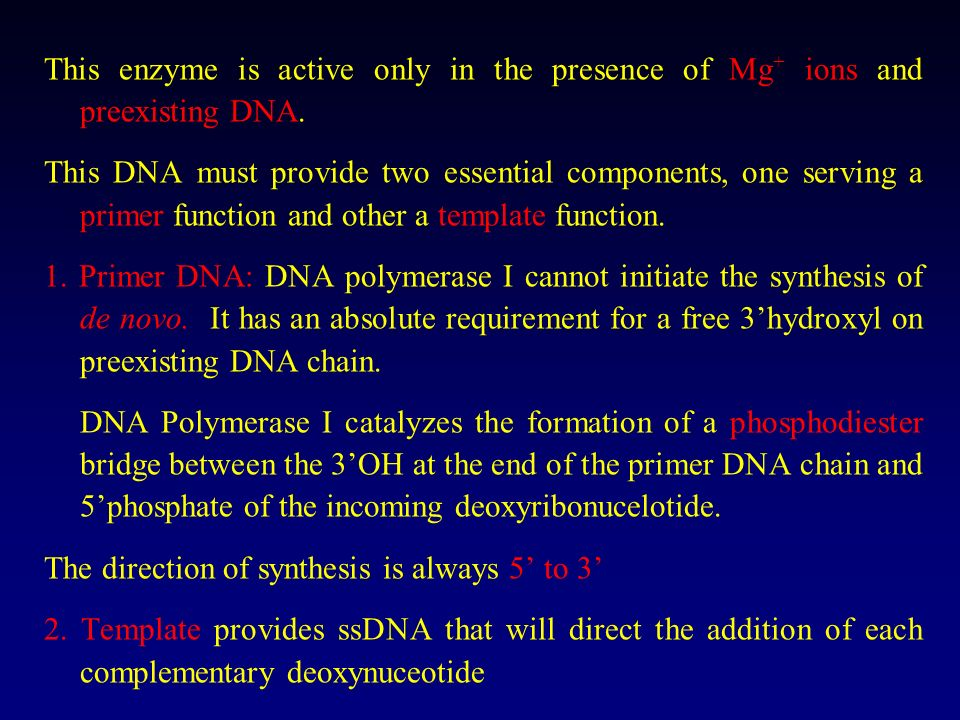 This enzyme is active only in the presence of Mg+ ions and preexisting DNA.