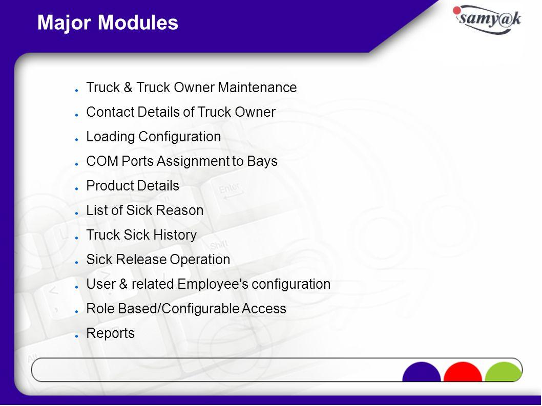 Major Modules Truck & Truck Owner Maintenance