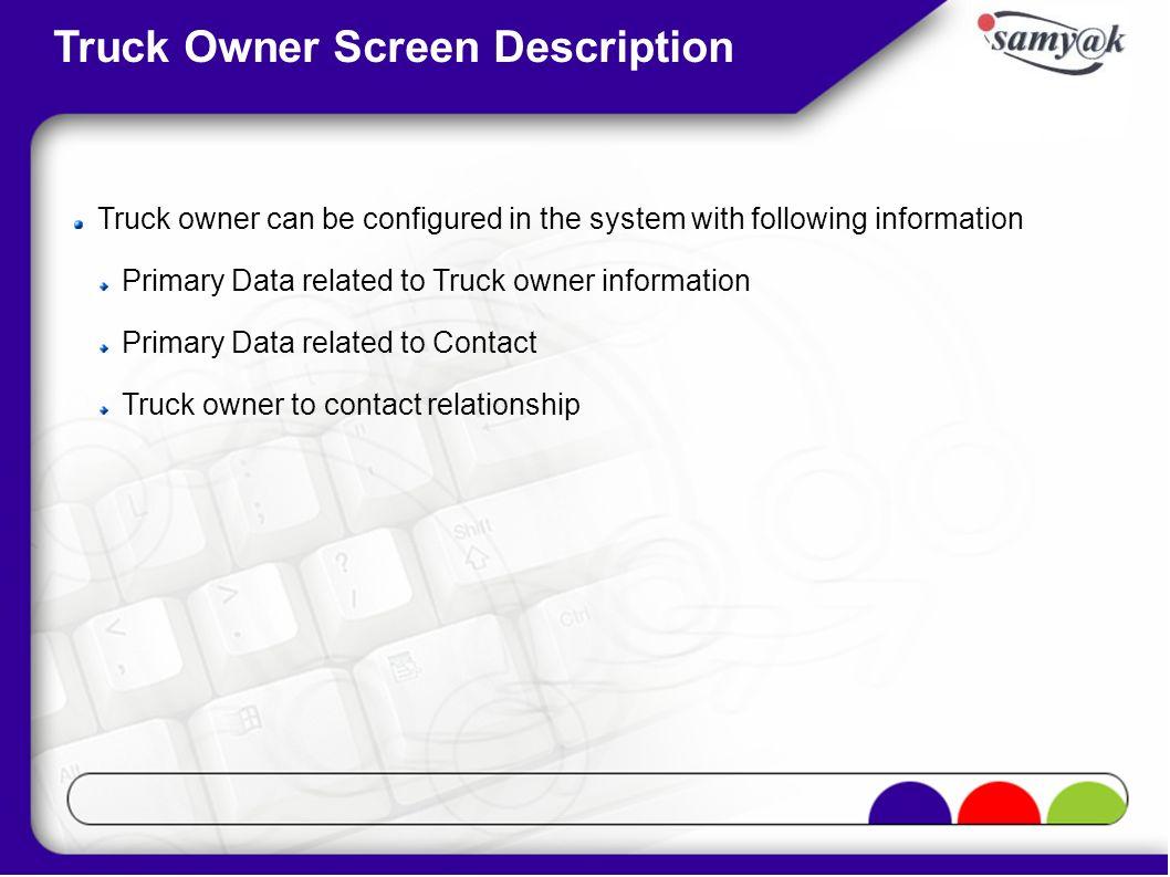 Truck Owner Screen Description