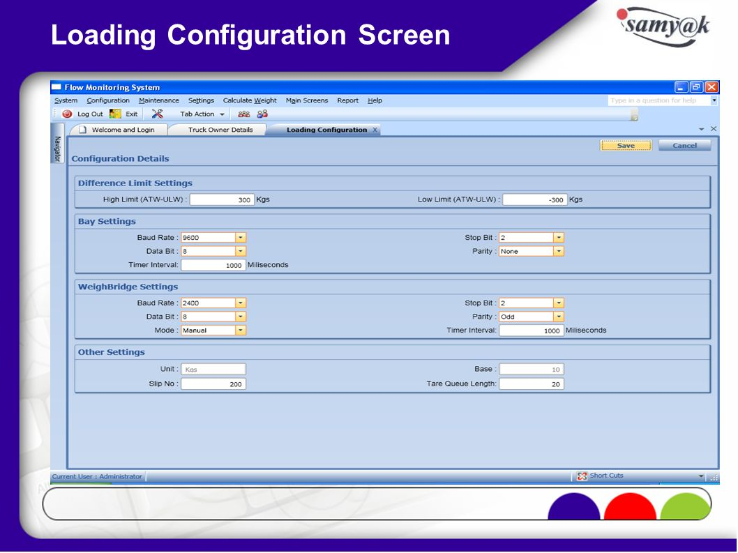 Loading Configuration Screen