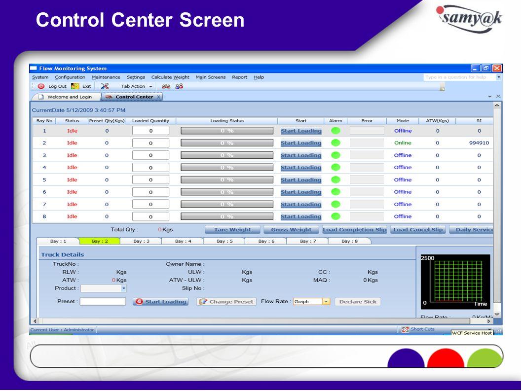 Control Center Screen