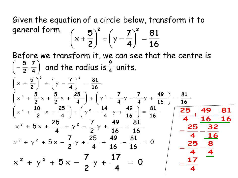Given the equation of a circle below, transform it to general form.