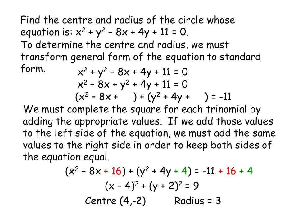 Find the centre and radius of the circle whose equation is: x2 + y2 – 8x + 4y + 11 = 0.