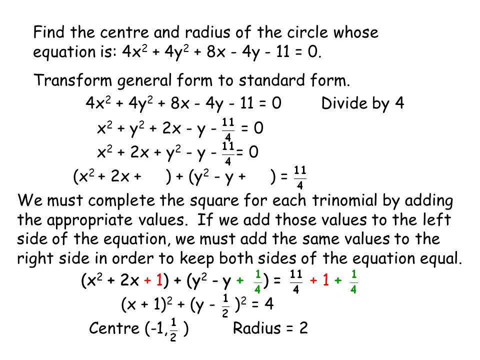 Transforming the Equation of a Circle - ppt video online download