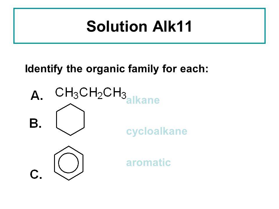 Solution Alk11 Identify the organic family for each: alkane