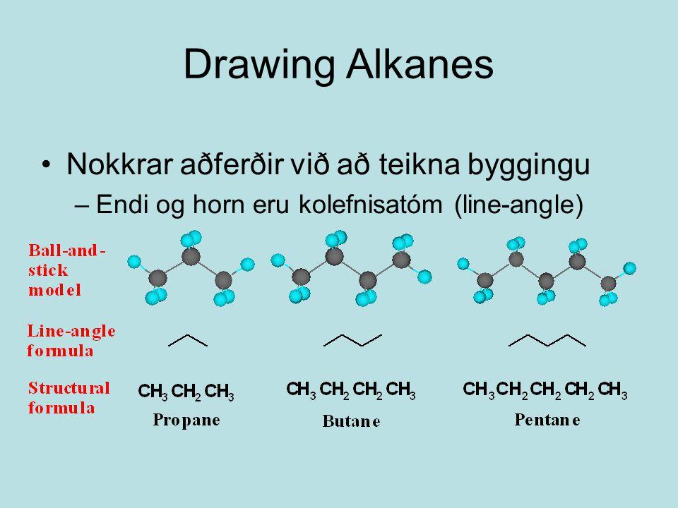Drawing Alkanes Nokkrar aðferðir við að teikna byggingu