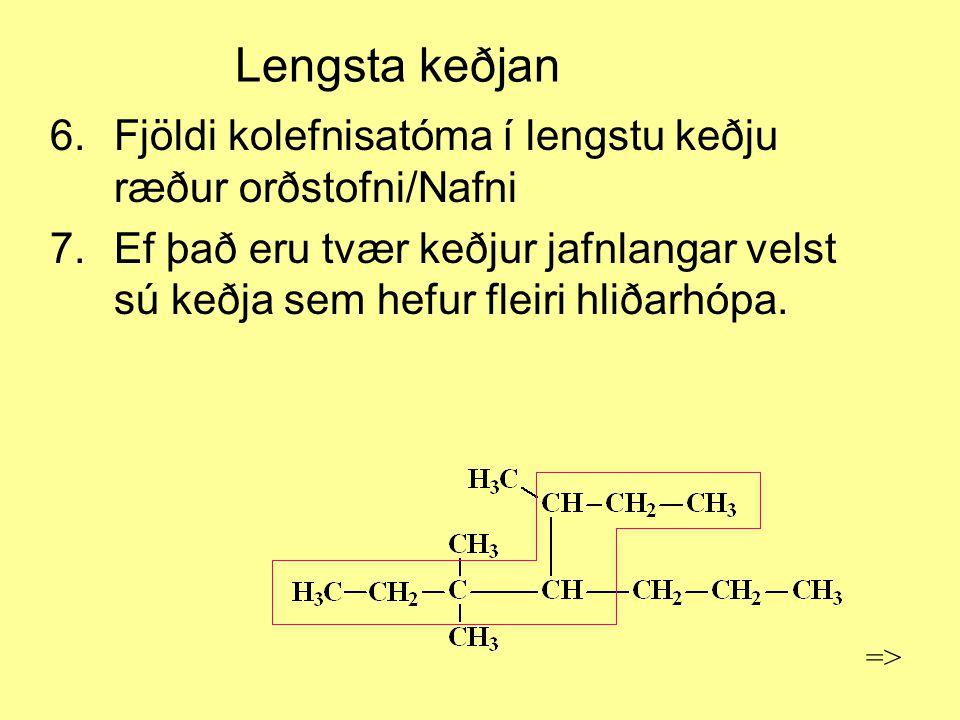 Lengsta keðjan Fjöldi kolefnisatóma í lengstu keðju ræður orðstofni/Nafni.