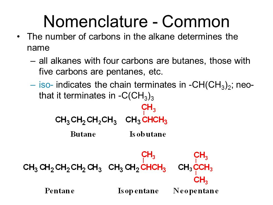 Nomenclature - Common The number of carbons in the alkane determines the name.