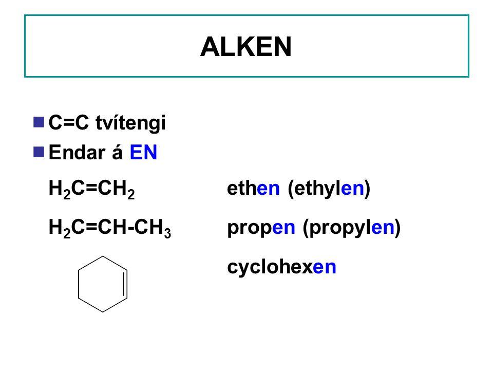 ALKEN C=C tvítengi Endar á EN H2C=CH2 ethen (ethylen)