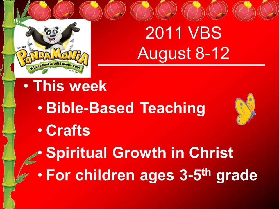 2011 VBS August 8-12 This week Bible-Based Teaching Crafts