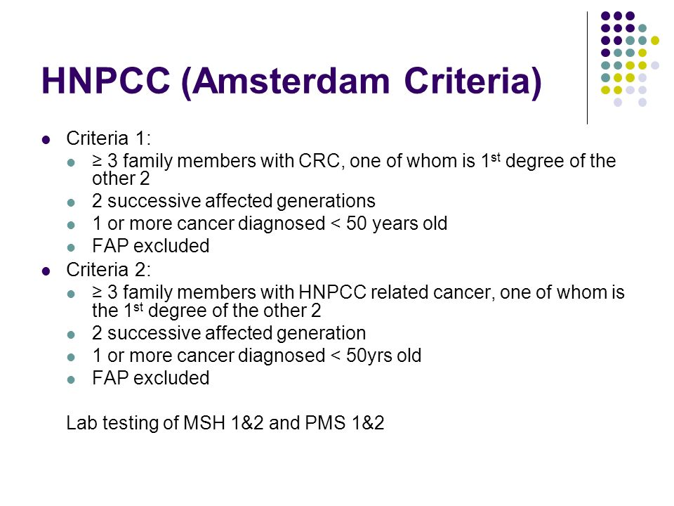 HNPCC (Amsterdam Criteria)