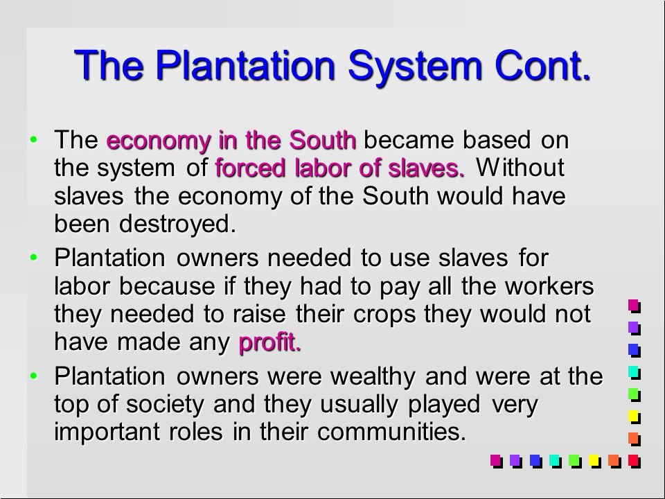 The Plantation System Cont.