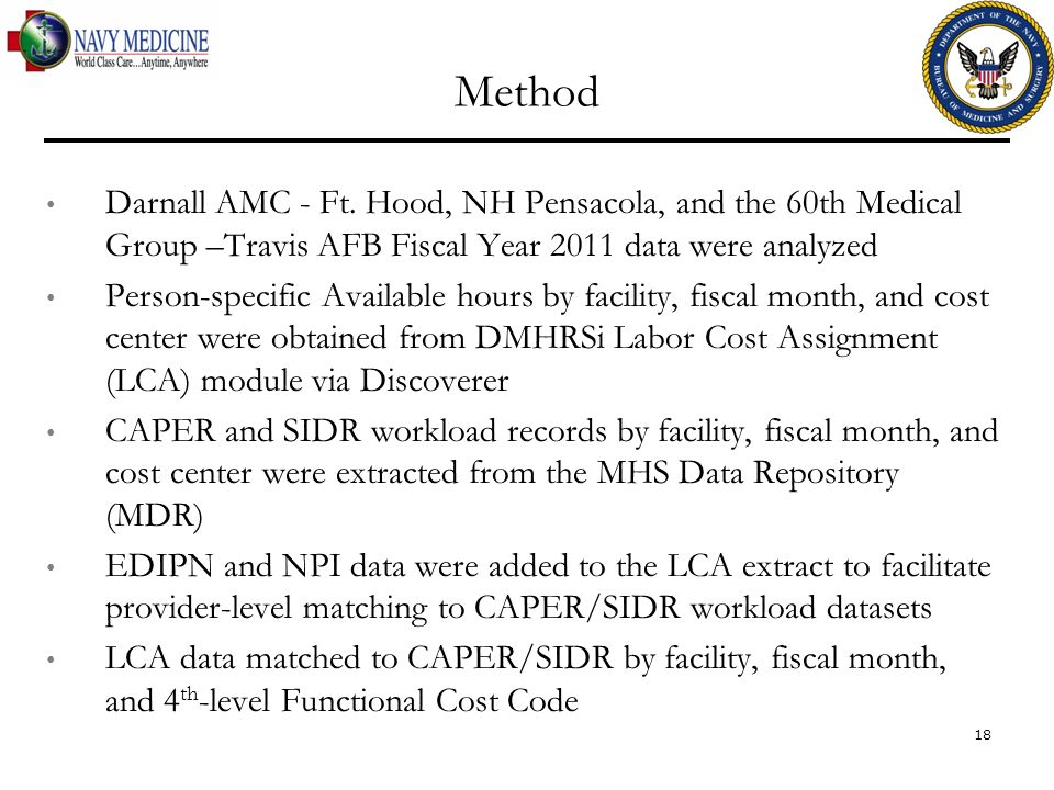 Method Darnall AMC - Ft. Hood, NH Pensacola, and the 60th Medical Group –Travis AFB Fiscal Year 2011 data were analyzed.