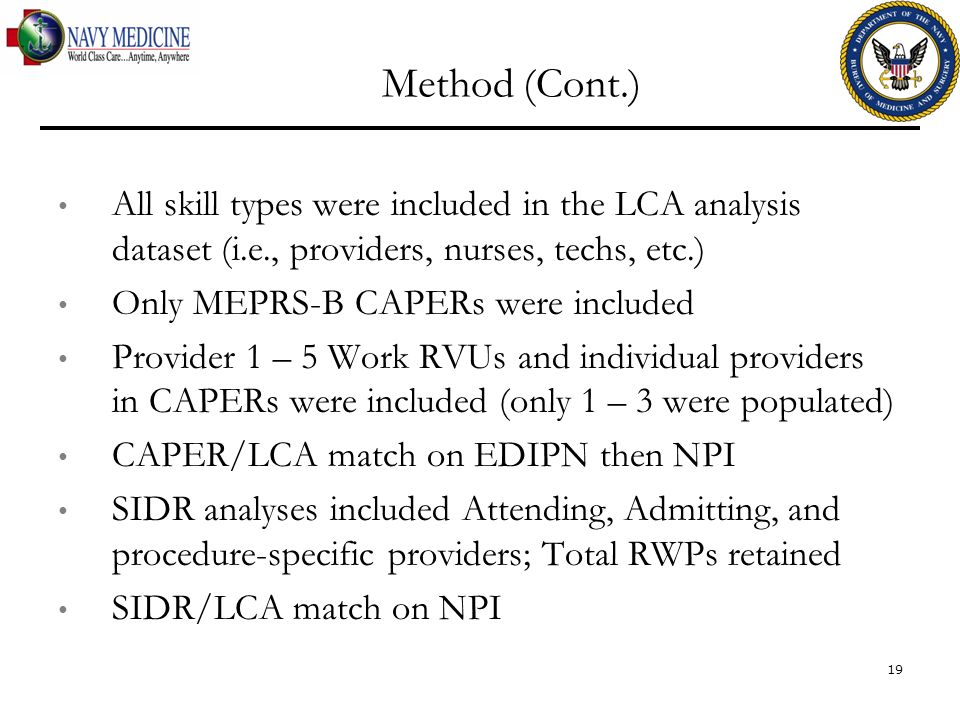 Method (Cont.) All skill types were included in the LCA analysis dataset (i.e., providers, nurses, techs, etc.)