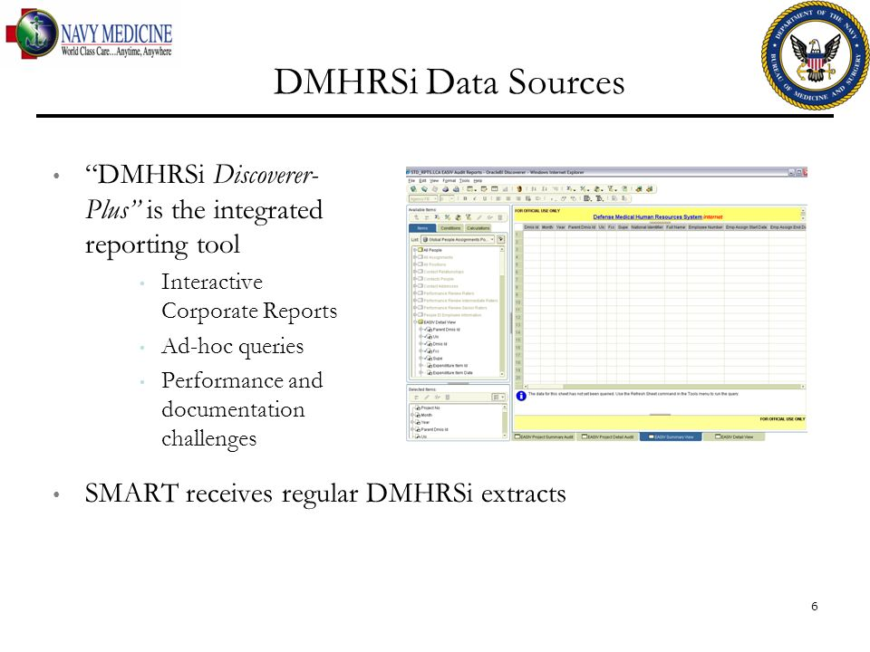 DMHRSi Data Sources DMHRSi Discoverer-Plus is the integrated reporting tool. Interactive Corporate Reports.