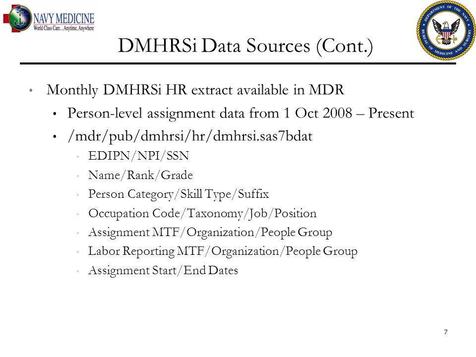 DMHRSi Data Sources (Cont.)