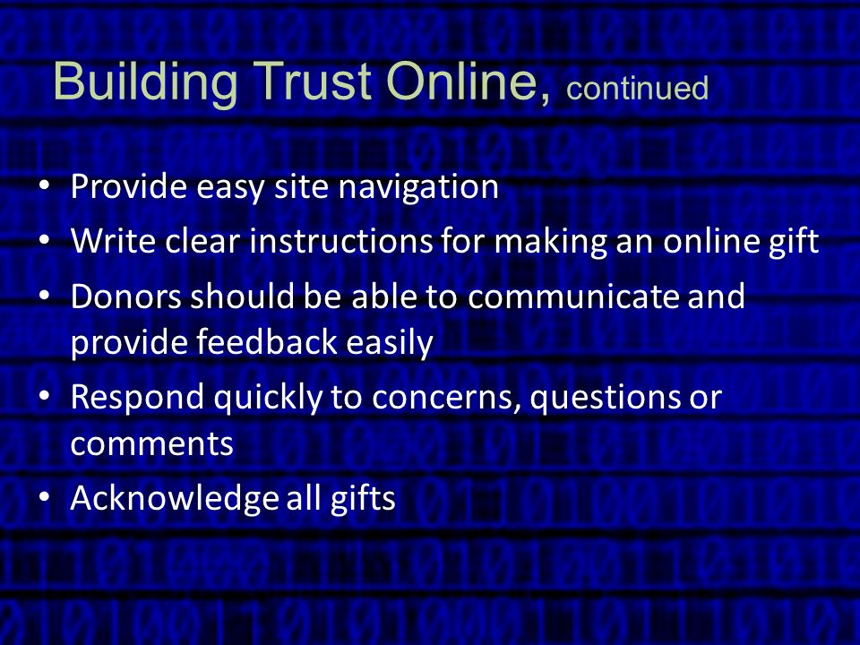 Building Trust Online, continued