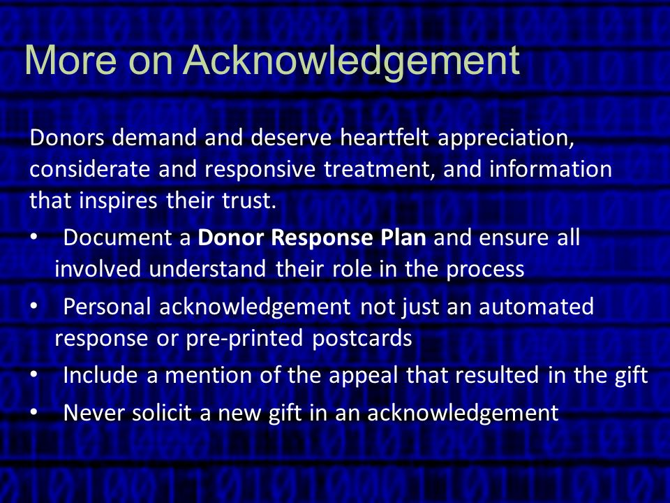 More on Acknowledgement
