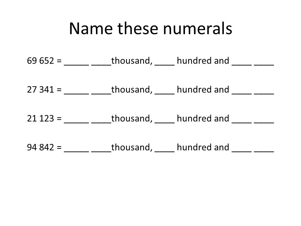 Name these numerals