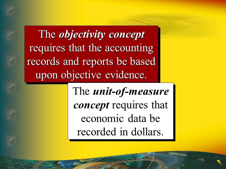 The objectivity concept requires that the accounting records and reports be based upon objective evidence.