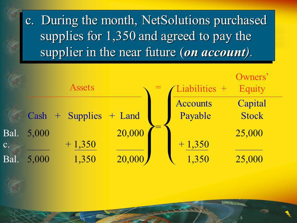 c. During the month, NetSolutions purchased supplies for 1,350 and agreed to pay the supplier in the near future (on account).