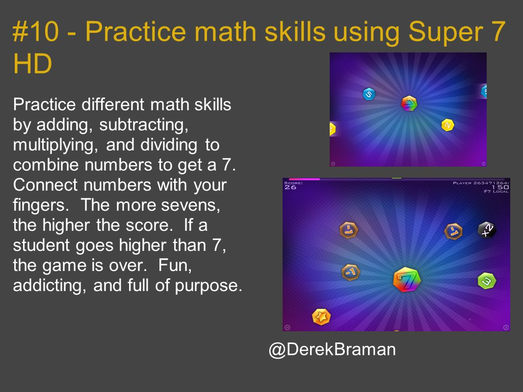 #10 - Practice math skills using Super 7 HD
