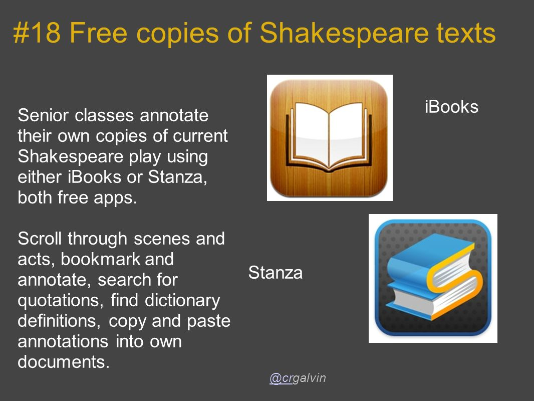 #18 Free copies of Shakespeare texts