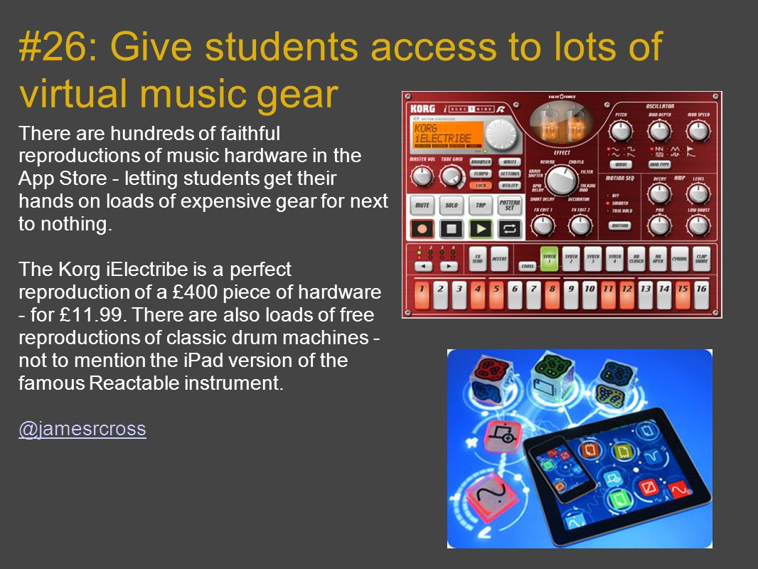 #26: Give students access to lots of virtual music gear