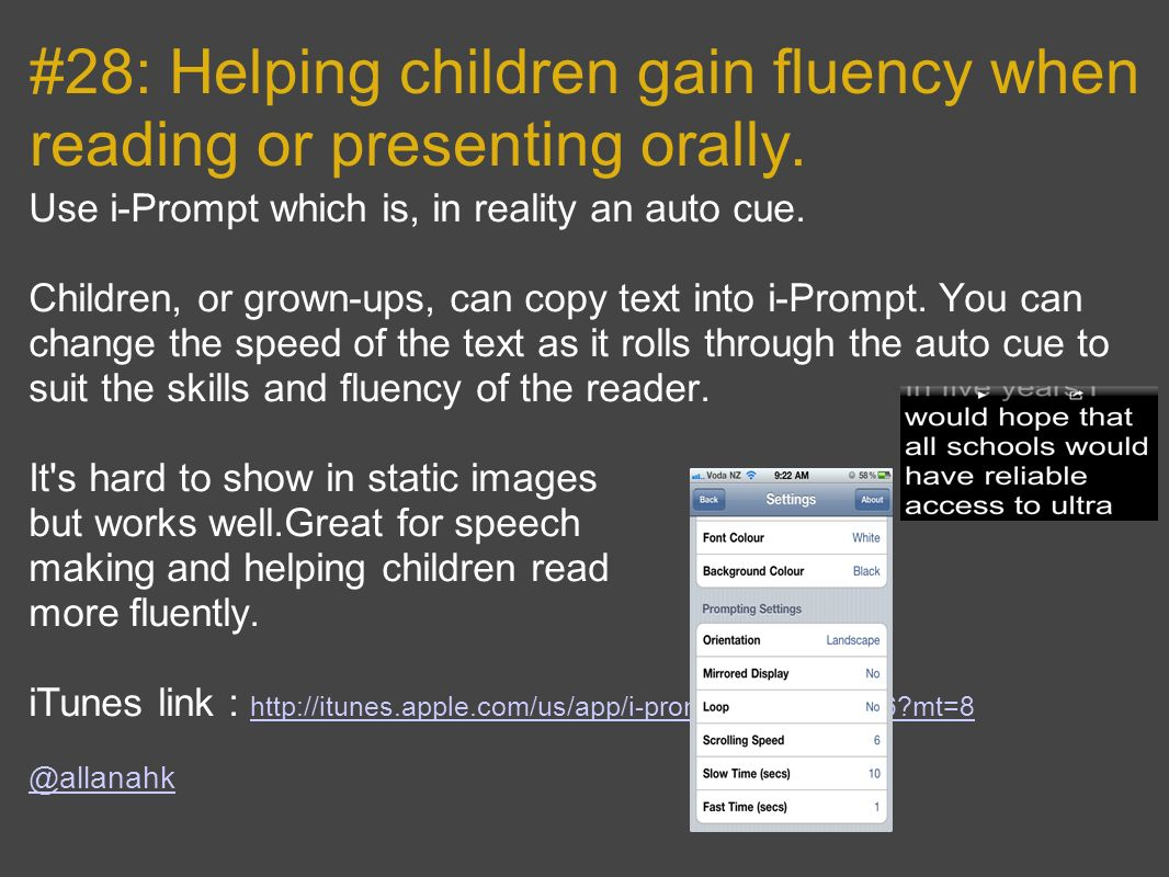 #28: Helping children gain fluency when reading or presenting orally.