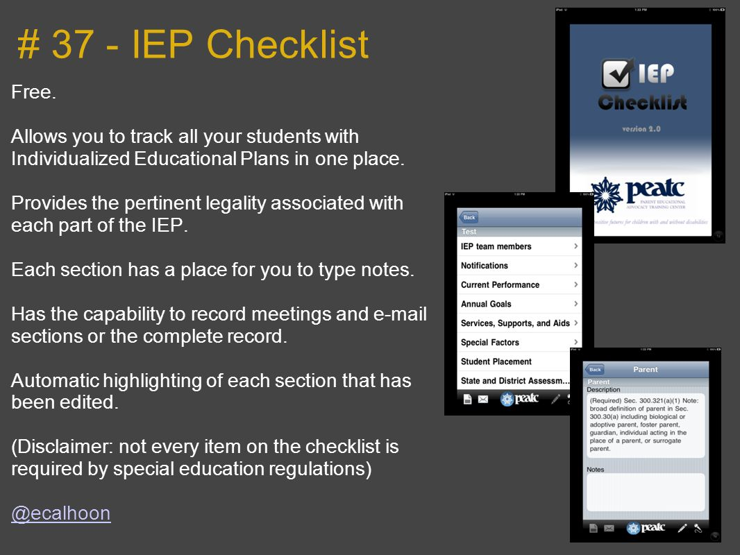 # 37 - IEP Checklist Free. Allows you to track all your students with Individualized Educational Plans in one place.