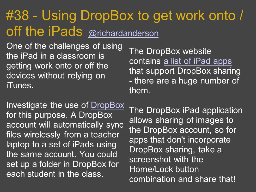#38 - Using DropBox to get work onto / off the iPads